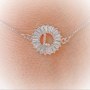 Jewelry - Silver Cubic Zirconia  Letter L Bracelet.